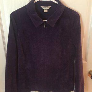 Dark Purple Corduroy Zipper Jacket